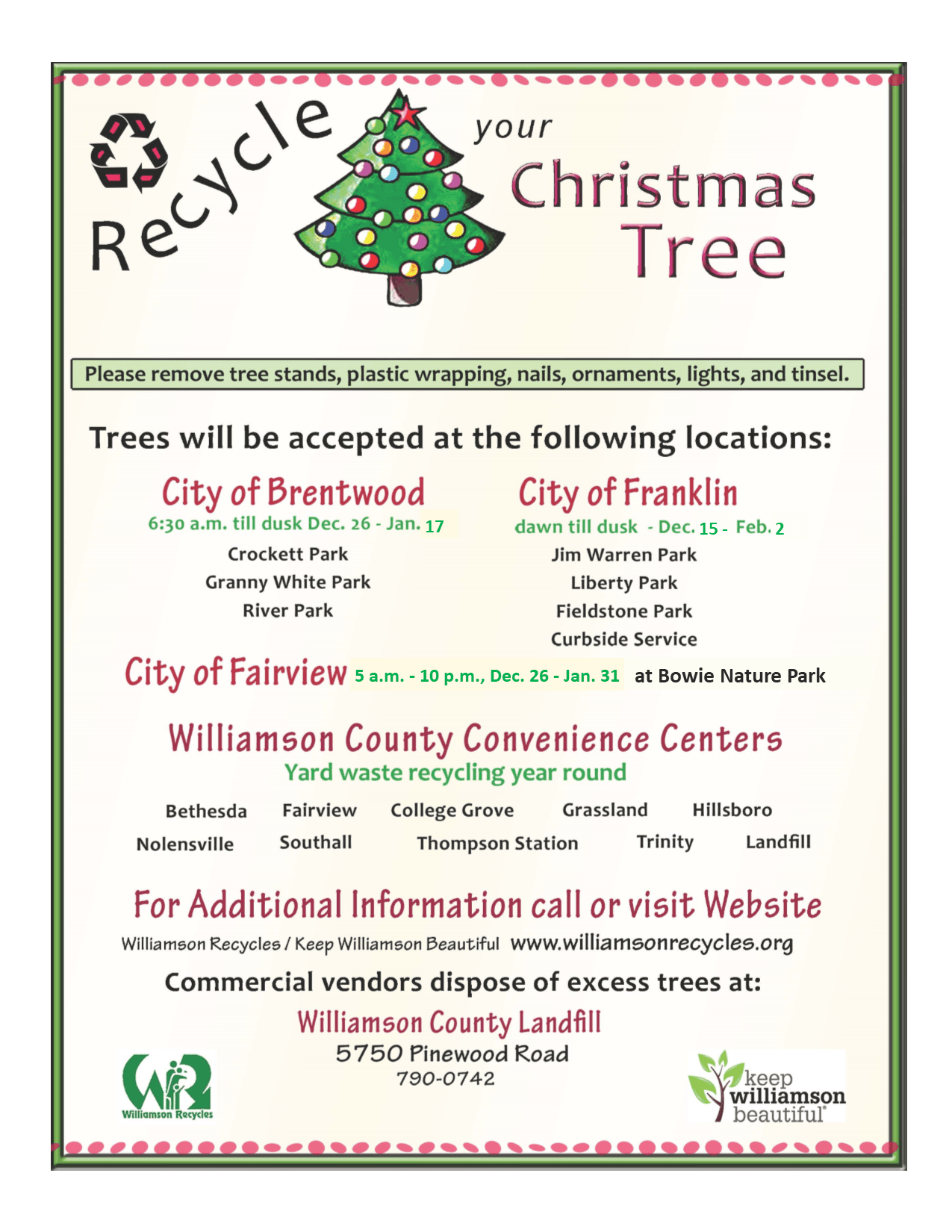 2019 Christmas Tree Recycling Flyer