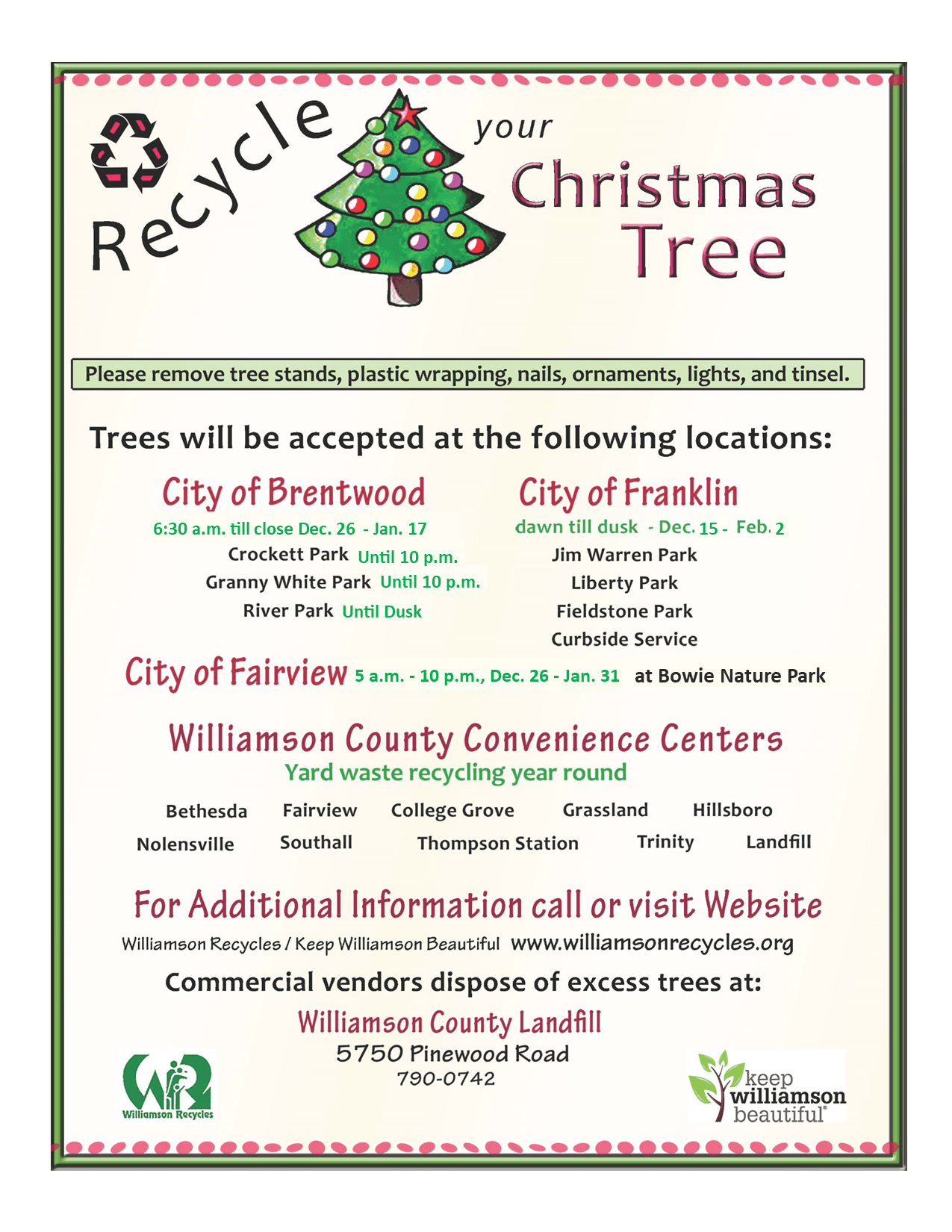 2020 Christmas Tree Recycling Flyer